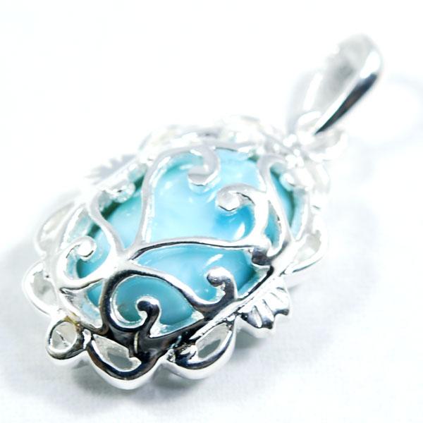 AAAAAラリマーペンダントトップ★アラベスクのシルバーに囲まれた優しいブルー★繊細な作りが更に優しさ&高級感をかもし出す★ラリマーペンダントトップ