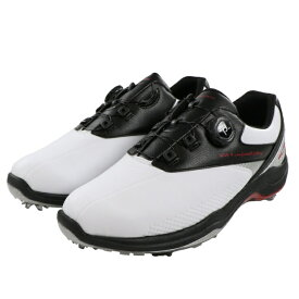 ティゴラ 超ワイドタイプ スパイク ゴルフシューズ (TR-0S1009) メンズ ゴルフ ダイヤル式スパイク 4E ホワイト×レッド TIGORA