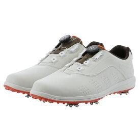 ティゴラ ゴルフシューズ 極軽 (TR-0S1040) メンズ ゴルフ ダイヤル式スパイクシューズ 4E ホワイト×オレンジ TIGORA