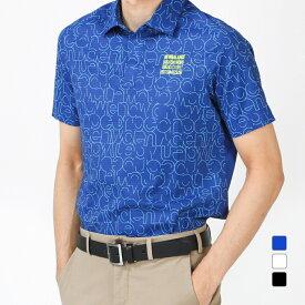 ニューバランス ゴルフウェア 半袖 シアサッカーメッシュグリンプスロゴタイポグラフィプリント (0121168001) メンズ New Balance