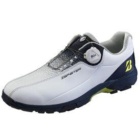 ブリヂストン ゴルフシューズ ゼロスパイクバイターライト2 (SHG150) メンズ ゴルフ ダイヤル式スパイクレスシューズ 3E : ホワイト×ネイビー BRIDGESTONE