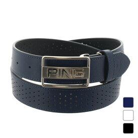 ピン ゴルフウェア ベルト ロゴバックルパンチング (6212982002) パンチングしたレザーにブランドロゴのバックル メンズ PING