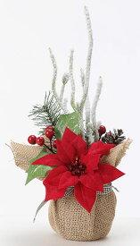 《 クリスマス 造花 ポインセチア 》花びし/ハナビシ ポインセチアアレンジポット レッドインテリア