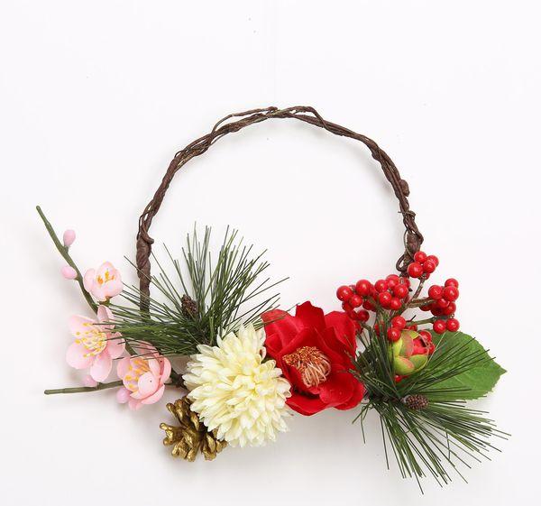 《 お正月飾り 》花びし/ハナビシ 椿ポンポンリース レッド/ホワイト新年 新春