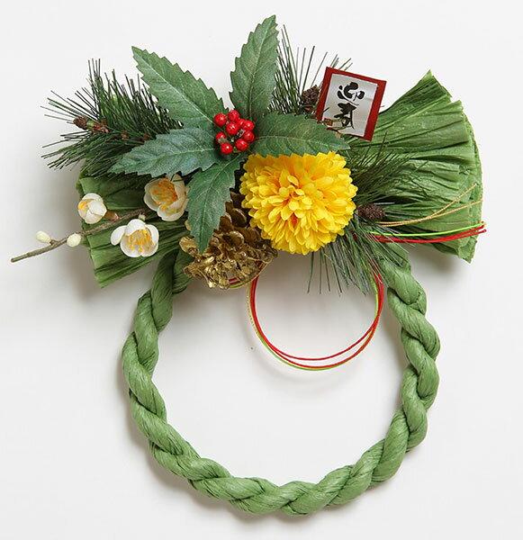 《 お正月飾り 》花びし/ハナビシ 千両しめ縄リース グリーン新年 新春