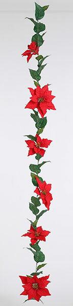 《 クリスマス 造花 ポインセチア 》花びし/ハナビシ ポインセチアガーランド×6F レッドインテリア