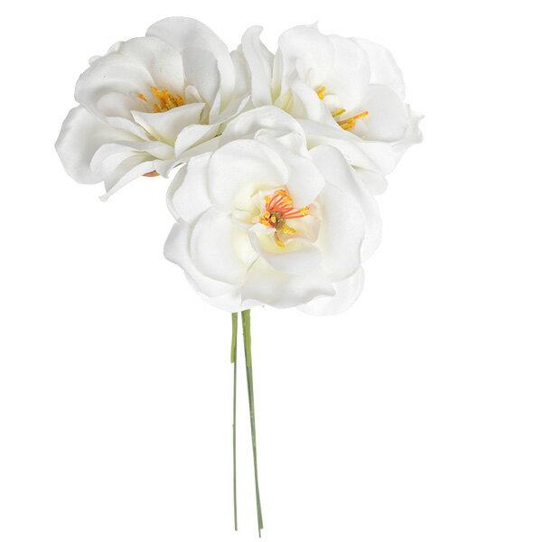 《 造花 》Parer/パレ ミニカメリアピック ホワイト 和 ツバキ
