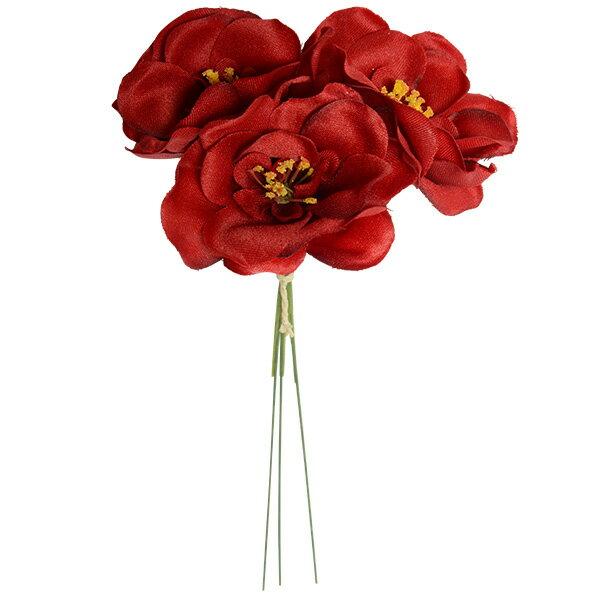 《 造花 》Parer/パレ ミニカメリアピック レッド 和 ツバキ