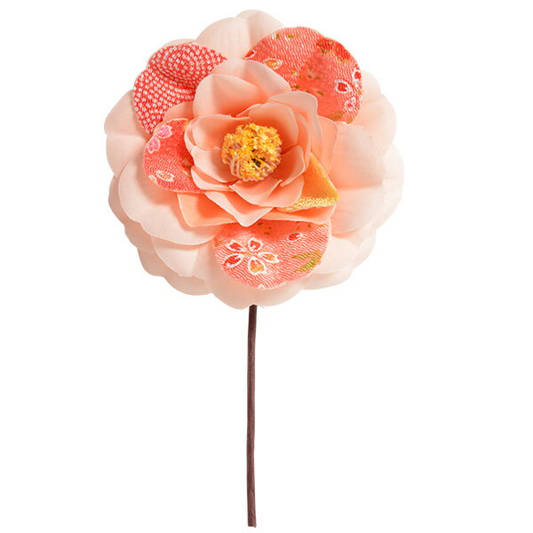 《 造花 》Parer/パレ ちりめん椿 ピンク 和 ツバキ カメリア