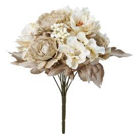 《 造花 》◆とりよせ品◆Asca ☆ミックスフラワーブッシュ ベージュボタン 牡丹