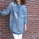 綿100% 襟ワイヤーデニムシャツチュニック|ミセス ファッション 50 代│チュニック春夏|アラフォー|40代│50代│60…