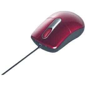 バッファロー 有線光学式マウス 静音/3ボタン/Mサイズ レッド BSMOU27SMRD