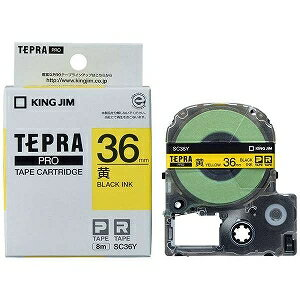 キングジム テプラ カラーラベルテープ(黄テープ/黒文字/36mm幅) SC36Y