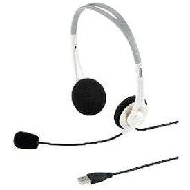 サンワサプライ 「Windows8対応」ヘッドセット「USB」 両耳オーバーヘッドタイプ(ホワイト) MM‐HSUSB16W