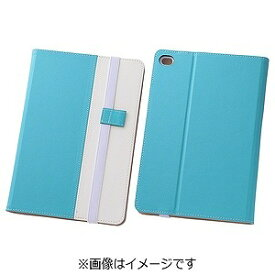 レイ・アウト iPad mini 4用バイカラー・ブックレザーケース 合皮 ブルー/ホワイト RT‐PM3LC7/AW