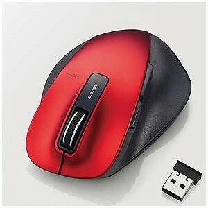 エレコム ワイヤレスBlueLEDマウス 静音EX−G Mサイズ(5ボタン・レッド) M‐XGM10DBSRD