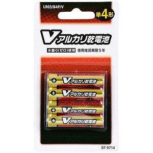 オーム電機 アルカリ乾電池単四4本パック ブリスター LR03B4PV