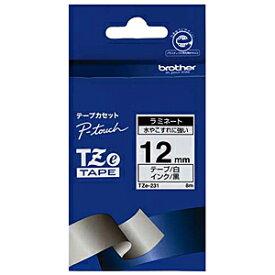 ブラザー ピータッチ用ラミネートテープ(12mm) TZe‐231 (白/黒文字)