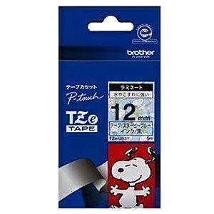 ブラザー ピータッチ用スヌーピーキャラクターテープ(12mm) TZe‐UB31 (スヌーピーブルー/黒文字)