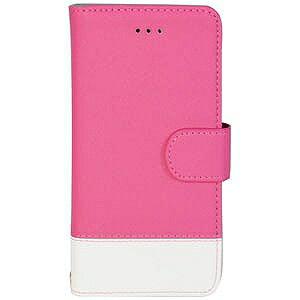 オウルテック iPhone 7 Plus用 kuboq 手帳型ケース PU カードポケット付 OWL‐CVIP7P04‐PKW ピンクxホワイト