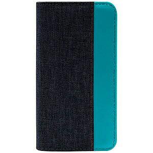 オウルテック iPhone 7用 gufo 手帳型ケース ベロ無し キャンバス地xPU カードポケット付 OWL‐CVIP719‐BKTB ブラックxターコイズブルー