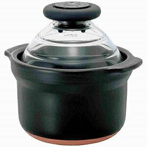 ハリオ 土鍋 フタがガラスのご飯釜1合専用 GNN−150B (ブラック)