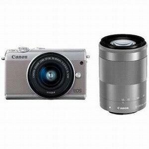 Canon ミラーレス一眼 EOS M100【ダブルズームキット】 (グレー/ミラーレス一眼カメラ)(送料無料)