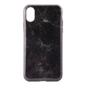 オウルテック iPhone X用 TPU背面ケース 大理石柄 ブラック OWL−CVIP819BK