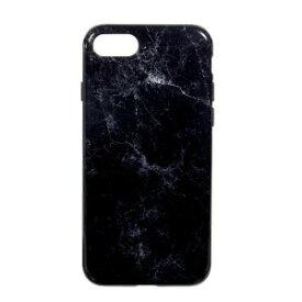 オウルテック iPhone 8用 TPU背面ケース 大理石柄 ブラック OWL−CVIP730BK