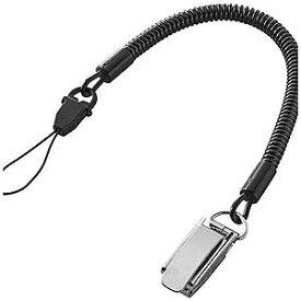 エレコム 〔カールストラップ〕 スマートフォン用クリップストラップ メタル 70cm ブラック P−STCM70BK