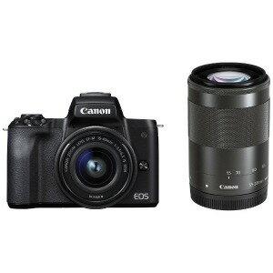 Canon ミラーレス一眼カメラ EOS Kiss M(ダブルズームキット) ブラック(送料無料)