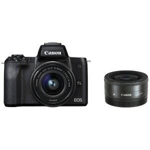 Canon ミラーレス一眼カメラ EOS Kiss M ダブルレンズキット (ブラック)(送料無料)