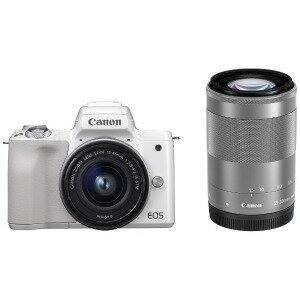 Canon ミラーレス一眼カメラ EOS Kiss M(ダブルズームキット) ホワイト(送料無料)