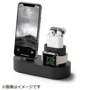 ビジョンネット iPhone/AirPods/Apple Watch用充電スタンド EL_IAASTSC3S_BK ブラック