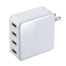 サンワサプライ USB充電器(4ポート・合計6A・ホワイト) ACA−IP54W