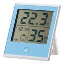 オーム電機 時計付き温湿度計 ブルー TEM−200A(ブル