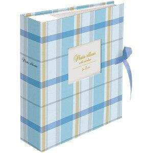 ナカバヤシ 窓付きポケットアルバム L200枚 チェック ブルー ブルー 1PLW−201−3−B