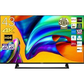 ハイセンス 43V型4K対応液晶テレビ[4Kチューナー内蔵/YouTube対応] 43E6800 ブラック(標準設置無料)