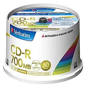三菱化学 データ用CD−R(48倍速対応/700MB)50枚スピンドルケース SR80FP50V2
