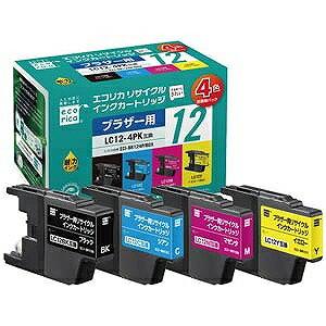 エコリカ ブラザー LC12−4PK(4色) 互換リサイクルインクカートリッジ ECI‐BR124P/BOX