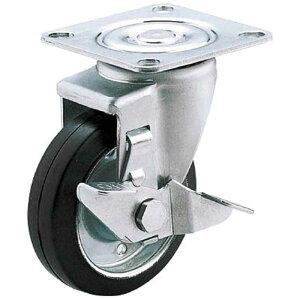 ユーエイキャスター 産業用キャスターS付自在車 100径ゴム車輪 SJ100WSP