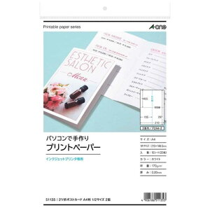 エーワン マルチカード(インクジェットプリンタ)1/2 2ツ折ポストカード(A4・2面×10枚) 51135