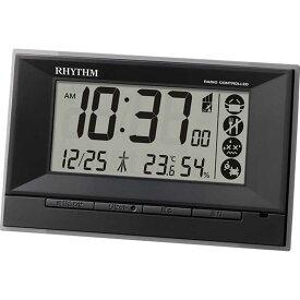 リズム時計 RHYTHM 電波目覚まし時計 温湿度計付 「フィットウェーブD207 黒」 8RZ207SR02
