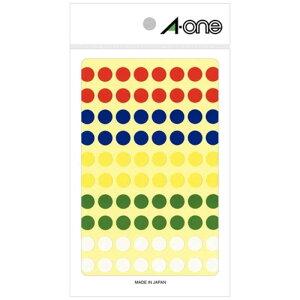 エーワン カラーラベル アソートタイプ 赤・青・黄・緑・白 (ハガキサイズ・80面×11シート) 07014