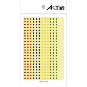 エーワン カラーラベル アソートタイプ 赤・青・黄・緑・白 (ハガキサイズ・336面×3シート) 07694