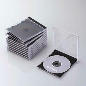 エレコム ELECOM CD/DVD/Blu−ray対応収納ケース (1枚収納×10セット・ブラック) CCD‐JSCN10BK