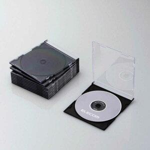 エレコム ELECOM CD/DVD/Blu−ray対応収納スリムケース(1枚収納×10セット) CCD‐JSCS10BK (ブラック)