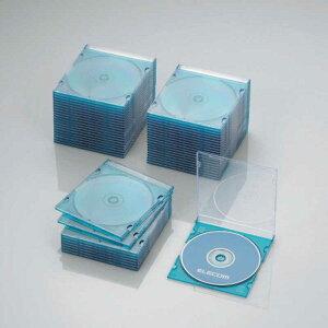 エレコム ELECOM CD/DVD/Blu−ray対応収納スリムケース(1枚収納×50セット) CCD‐JSCS50CBU (クリアブルー)