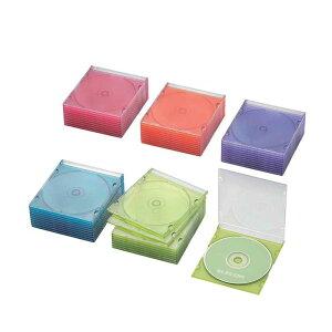 エレコム ELECOM CD/DVD/Blu−ray対応収納スリムケース(1枚収納×50セット) CCD‐JSCS50ASO (5色アソート)