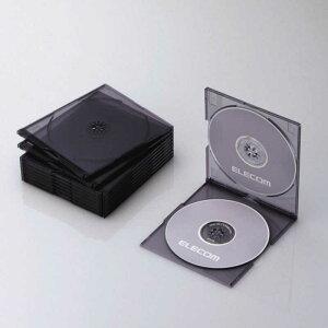 エレコム ELECOM CD/DVD/Blu−ray対応収納スリムケース(2枚収納×10セット・クリアブラック) CCD‐JSCSW10CBK